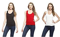 Friskers Women's Tank Top (Pack Of 3) (FY-SPG-01_02_03_Black_Large)