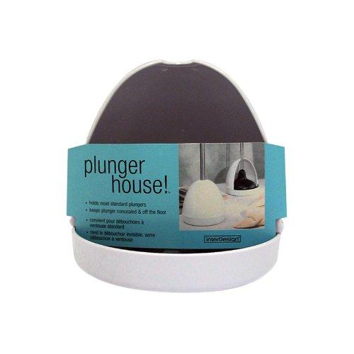 interdesign toilet plunger holder cover for bathroom storage white 76031eu 696730444612. Black Bedroom Furniture Sets. Home Design Ideas