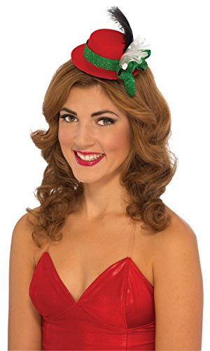 Rubie's Costume Women's Clausplay Christmas Mini Hat with Feather and Ribbons