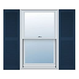 12 in. Vinyl Louvered Shutters in Classic Blue - Set of 2 (12 in. W x 1 in. D x 75 in. H (7.11 lbs.))