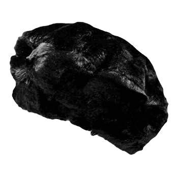 Luxury Divas Black Faux Mink Fur Large Beret Cap Hat