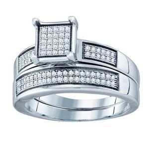1/3 Carat Micro Pave Diamond Sterling Silver Bridal Set Ring