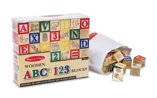 Toy / Game Melissa And Doug Deluxe 50-Piece Wooden Abc/123 Blocks Set - Ideal For Stacking Or Building front-999959