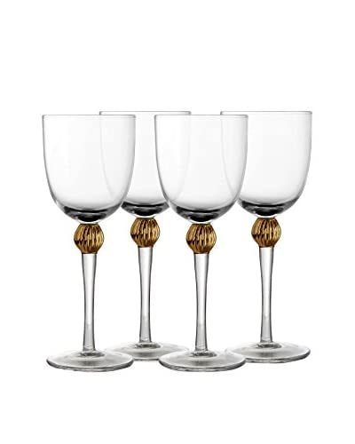 Jay Imports Set of 4 Gold Medley Goblets, Clear