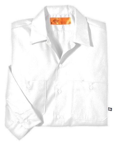 Dickies occupational workwear ll535wh 4xl polyester for White cotton work shirts