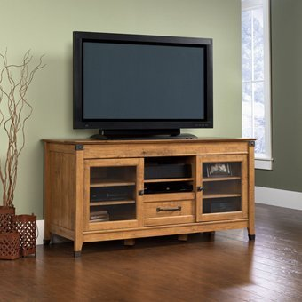 Sauder Registry Row Entertainment Credenza Amber Pine (Entertainment Center Pine compare prices)
