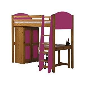 Single High Sleeper Bunk Bed Pieces Included: Bed Frame / Tall Boy / 5 Drawer Chest, Finish: Fushia