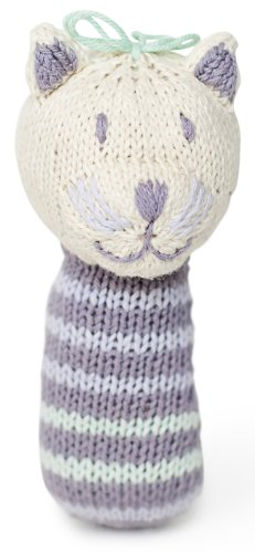 Finn + Emma Organic Cotton Baby Girl Mini Rattle - Cat - 1