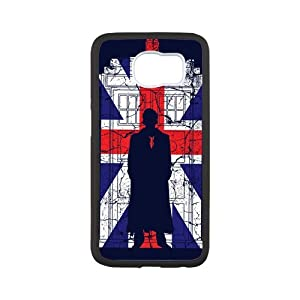 Sherlock Holmes Union Jack Flag Door Custom Phone Cases Design for Samsung Galaxy S6 covers with Balck Laser Technology