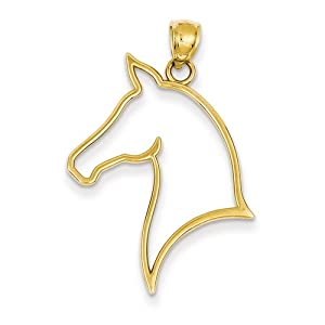 14k Polished Cut Out Horse Head Pendant