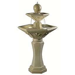 Fountains,Outdoor Fountain,Resin Maine Outdoor Floor, Lighted, Solar Tan Garden Fountain
