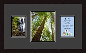Art to Frames Double-Multimat-519-89/89-FRBW26061 Collage Frame Photo Mat Double Mat with 2 - 5x7 and 1 - 8x10 Openings and Espresso frame