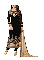 HK Trading Women's Georgette Unstitched Dress Material (MHARI62115695780_Black_Free Size)