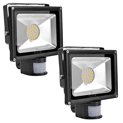 2X 30W Warm White Floodlight Smd Led Spotlight Garden Lamp With Motion Sensor
