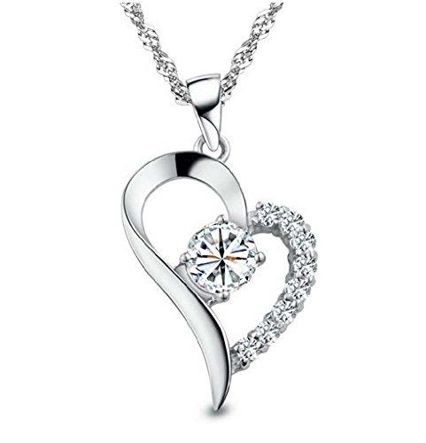 Women's 925 Silver Cubic Zirconia Crystal Heart