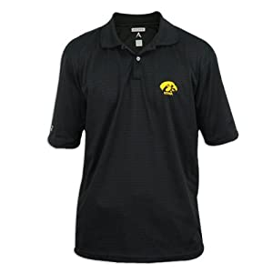 Iowa Hawkeyes Mens Antigua Control Desert Dry Black Polo by Antigua