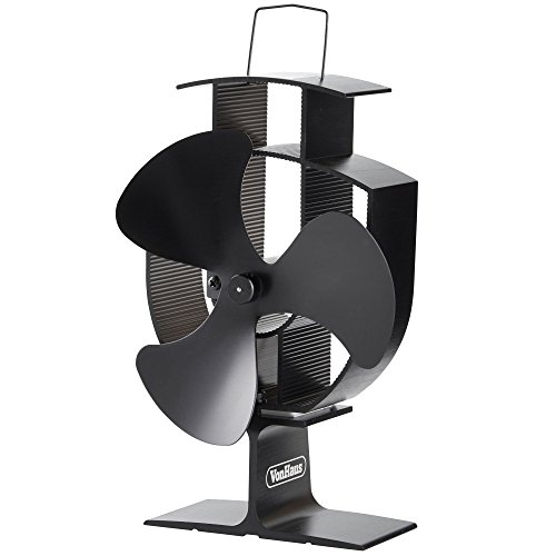 VonHaus Wood Stove Eco Fan - Heat Powered Ultra Quiet Triple Blade Fireplace Blower Fan for Efficient Heat Distribution - Black (Quiet Battery Fan compare prices)