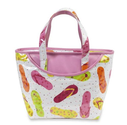 Picnic at Ascot Beach Day Collection Small Insulated Tote Bag in Flip Flop Cotton