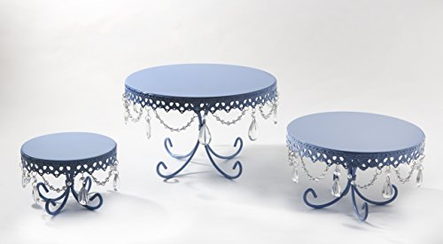 Opulent Treasures Loopy Cakes Chandelier Cake Plates Set of 3 (Toile Blue) Toile Cake