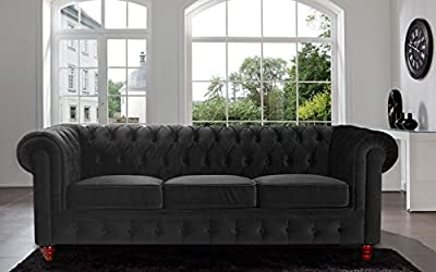 Classic Velvet Scroll Arm Tufted Button Chesterfield Style Sofa