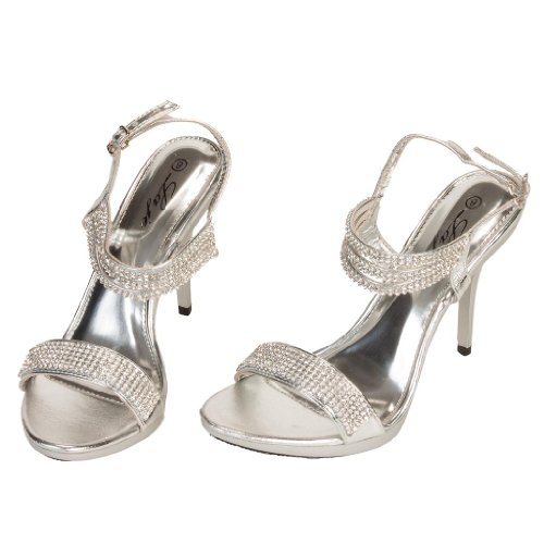 Women'S Crystal Rhinestone Open Toe High Heels Strap Sandal Shoes Silver 10 front-39809