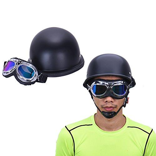 LianLe Vintage German Style Motorcycle Helmet Motorbike Half Helmet with Goggles 55cm-60cm