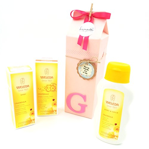 "Idea Regalo Originale per Bebé | Scatola tipo Milk-Box con 3 Creme WELEDA Linea ""Calendula BIO Baby"" 