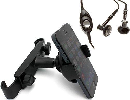 Fonus Brand Quality Car Headrest Expandable Cradle Mount Holder + Verizon Oem Stereo Handsfree Wired Headset For Casio G-Zone Commando 4G Lte, Pantech Flex, Renue, Marauder
