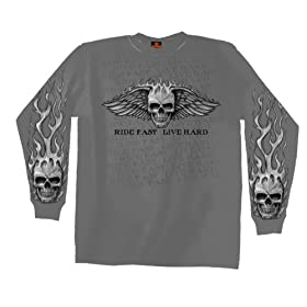 Hot Leathers Bad Scratch Long Sleeve Biker T-Shirt (Charcoal, XX-Large)