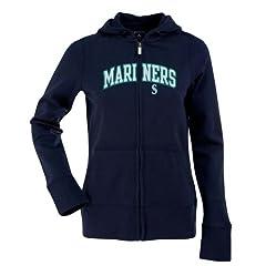 Seattle Mariners Applique Ladies Zip Front Hoody Sweatshirt (Team Color) by Antigua