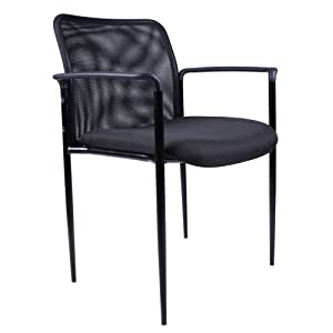 Boss B6909 Mesh Back and Crepe Seat Stacking with Arm 1 Unit, Guest Chair, Black