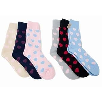 Chaussettes thermiques extra chaudes pour femme, brossées à l'intérieur, à motif coeurs (lot de 3 paires) (EUR 37-42) (Motif coeurs)