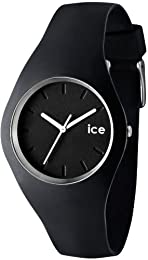 Ice-Watch Unisex Quartz Watch with Black Dial Analogue Display and Black Silicone Strap ICE.BK.U.S.12