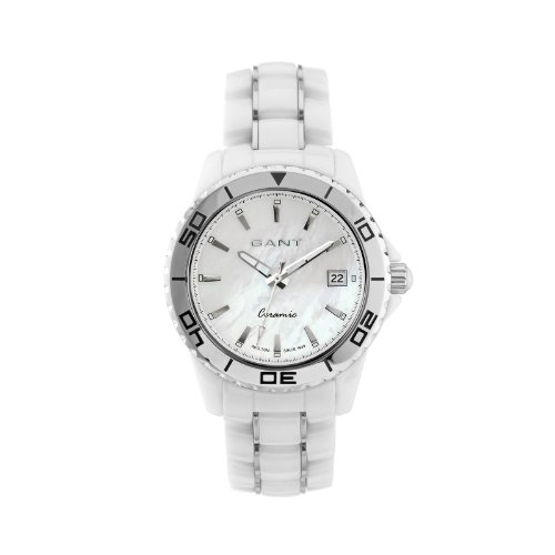 GANT W70372 - Reloj analógico de cuarzo para mujer con correa de cerámica, color blanco