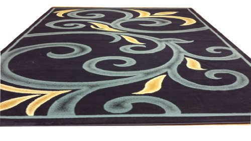 D612 Contemporary Modern Transitional Branch Leaves Design Navy Blue 5x8 Actual Size 5'3x7'2 Rug