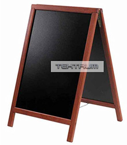 "TEKTRUM DOUBLE-SIDE SIDEWALK A-FRAME WOOD MAHOGANY SANDWICH SIGN BOARD 20"" x 40"" FOR SHOPS PUBS"