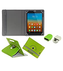 Gadget Decor (TM) PU Leather Rotating 360° Flip Case Cover With Stand For HCL ME Connect V3 + Free Robot USB On-The-Go OTG Reader - Green