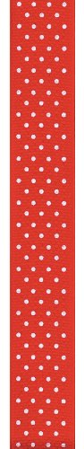 Offray Swiss Dot Grosgrain Craft Ribbon, 5/8-Inch Wide by 100-Yard Spool, Red