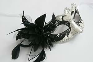 Schwarz und Silber Perlglanz Blume u. Federn Venezianische Maskerade Partei Karneval Maske
