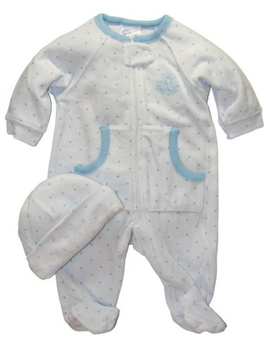 Velour Footed Sleeper & Hat Set by Creme De La Creme - Buy Velour Footed Sleeper & Hat Set by Creme De La Creme - Purchase Velour Footed Sleeper & Hat Set by Creme De La Creme (Creme De La Creme, Creme De La Creme Apparel, Creme De La Creme Toddler Boys Apparel, Apparel, Departments, Kids & Baby, Infants & Toddlers, Boys, One-Pieces & Rompers)