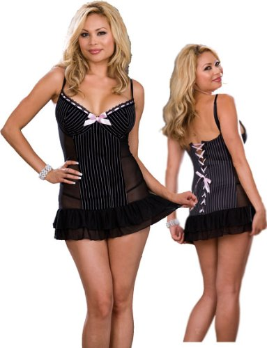 Plus Size Pinstripe Babydoll Lingerie Set - Sexy Sheer Black Baby Doll and Thong