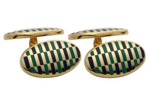 Code Red Gold Plated Cufflinks with Navy and Green Enamel and Chain Link