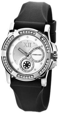 Dyrberg/Kern Women's Quartz Watch with Silver Dial Analogue Display and Black Rubber Bracelet 328016