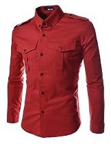 TheLees Mens slim fit strap big pocket shirts Red Large(US Medium)