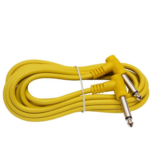 1/4 To Quarter Inch Right Angle Instrument Cable Guitar Pedal Keyboard Patch Cord (2Ft, Yellow)