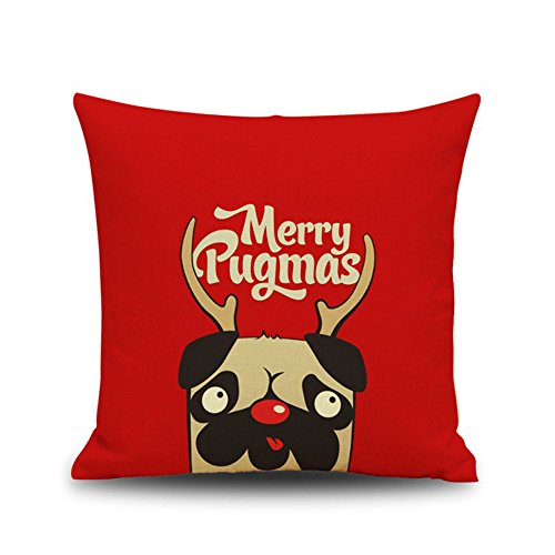 "Monkeysell Decorative Cotton Linen Square Throw Pillow Case Cushion Cover Christmas Snowman Blue Panda Elk Owl Santa Claus Lion black and white Designed 18 ""X 18"" (S139A4)"