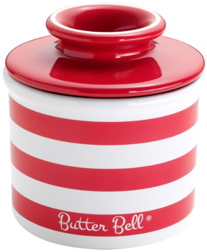 The Original Butter Bell Crock by L. Tremain, Candy Apple Red Striped