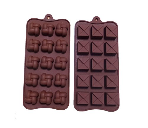 Yunko Two 15-cavity Square Shape Classic Chocolate Silicone Mold Ice Cube Candy Mould Candle Mold Jelly Mold