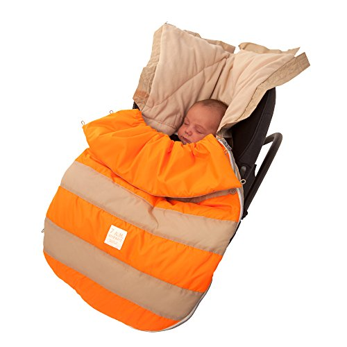 7AM Enfant Bee Pod Baby Bunting Bag for Strollers and Car-Seats with Removable Back Panel, Beige/Neon Orange, Small/Medium