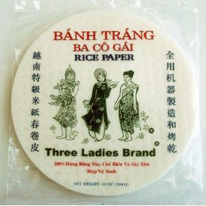 1 Pack Round Three Ladies Spring Roll Rice Paper 22 Cm